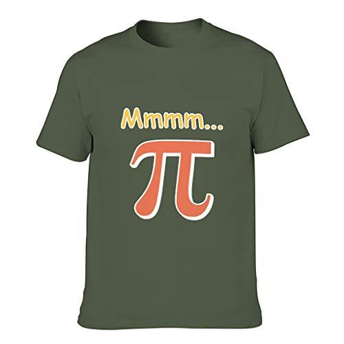 Knowikonwn Herren Mathematik Mmmm PI Baumwolle T-Shirts - Humor Sarcasm lose Kurzarm Shirt Gr. XL, armee-grün