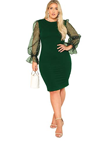 SheIn Women's Plus Size Elegant Mesh Contrast Pearl Beading Sleeve Stretchy Bodycon Pencil Dress Green 3X-Large Plus
