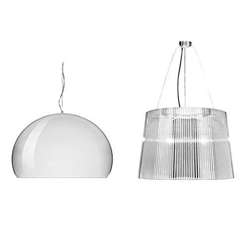 Kartell FL/Y Lampada a Sospensione E27, 15 W, Bianco Lucido, 52 x 33 x 241 cm & Ge Lampada a Sospensione, Trasparente (Cristallo)