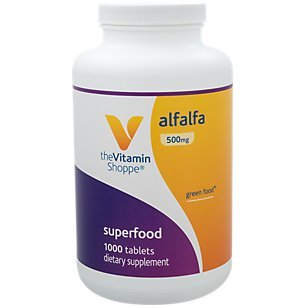 The Vitamin Shoppe Alfalfa 500 MG Natural Green Food Supplement, Nature's Superfood Antioxidant Green Superfood (1,000 Tablets)