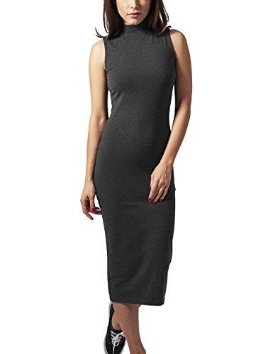 Urban Classics Damen Ladies Stretch Jersey Turtleneck Dress Kleid, Grau (Charcoal 91), 42 (Herstellergröße: XL)