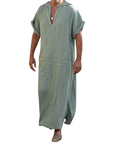 Ropa de dormir para hombre, de lino, estilo étnico, holgada, informal, para verano, primavera, con bolsillos, con capucha B-verde. XL