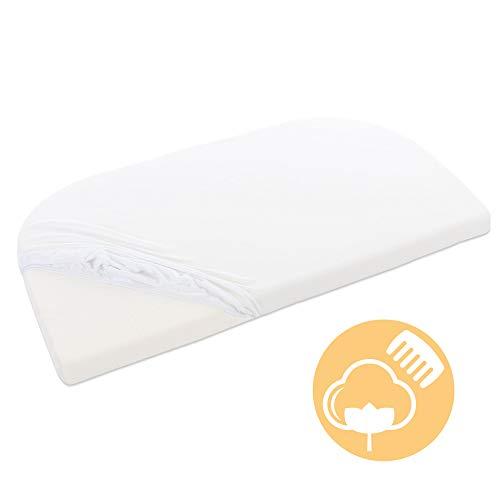 babybay Jersey Spannbetttuch passend für Modell Maxi, Midi, Mini, Boxspring, Trend und Comfort, weiß, 89 x 50 cm (1er Pack)