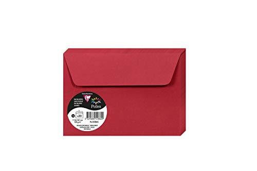 Clairefontaine 5586C - Paquete de 20 Sobres C6 - 114x162mm Pollen Rojo Grosella 120gr
