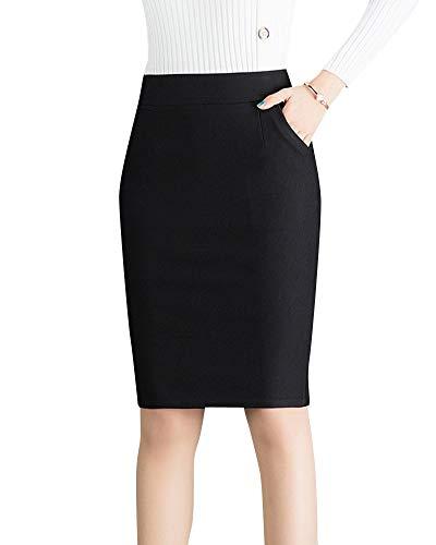 Quge Señoras Alta Cintura Faldas Tubo para Mujer Ajustado Bodycon Lápiz Midi Falda Negro 2XL