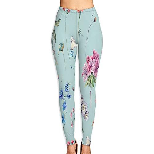 Pantalones de Yoga para Mujer,Naturaleza Fondo Acuarela Transparente Jardín Verano,Pantalones de Entrenamiento de Cintura Alta Medias elásticas de Yoga Impresas XL
