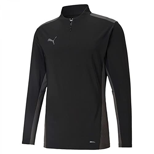 PUMA teamCUP 14 Zip Top Camiseta para Hombre, Color Negro/Smoked Pearl/Asphalt, Talla XL