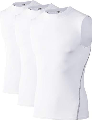 DZRZVD Herren Kompressions-Tanktop, ärmellos, Unterhemd, Unterhemd, Sportunterhemd, YEL1002, 3 Packungen - Weiß - XX-Large