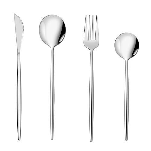 Juego de cubiertos de 16 piezas, vajilla de acero inoxidable, vajilla familiar con cuchillo y cuchara tenedor, servicio para 4 – pulido de espejo y apto para lavavajillas (estilo 09)