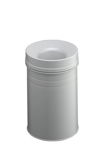 Durable 332510 Papierkorb Safe+ rund, selbstlöschender Mülleimer, 15 Liter, grau