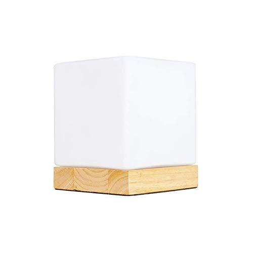 Dormitorio con lámpara de mesa mini cubo, parasol de vidrio E26 y base de madera lámpara de mesita de noche moderna decoración del pasillo del comedor interruptor de botón (color:interruptor de atenua