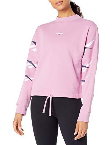 Reebok Damen Classic Vector Repeat Crewneck Sweatshirt mit Rundhalsabschnitt, Jasmin Pink, 4X26W