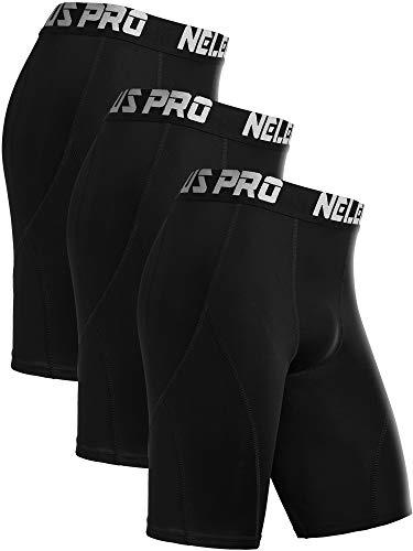 Neleus Men's 3 Pack Sport Running Compression Shorts,6012,Black,US M,EU L