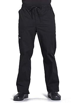 Workwear Professionals Men Scrubs Pant Tapered Leg Drawstring Cargo WW190 L Black