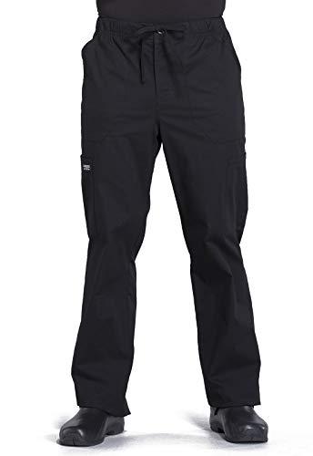 Workwear Professionals Men Scrubs Pant Tapered Leg Drawstring Cargo WW190, L, Black