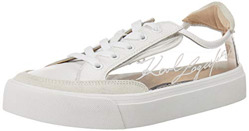 Karl Lagerfeld Paris Women's Sneaker, CLEAR/WHITE,6.5