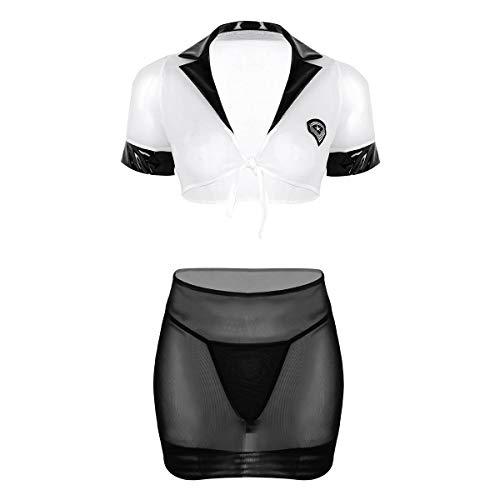 Freebily Sexy Women's Mesh Lingerie Set Secretary Office Uniform Skirt Cosplay Costume White&Black One Size