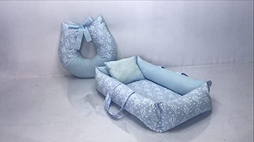Kit Ninho Redutor de Berço + Almofada Amamentação Encanto Balões Azul Bebê - Menino
