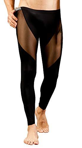 Meykiss Men's Sexy Slim Fit Leggings Pants Performance Mesh Long JohnsUS M Black