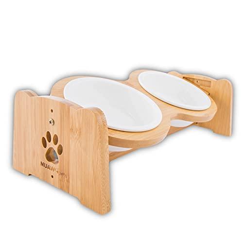 Premium Hundenapf Keramik oder Katzennapf höhenverstellbar, 350ml pro Napf, Perfekter Futternapf für Hund und Katze, ideal für kleine Hunde und Katzen, Näpfe mit Futterstation aus Bambus