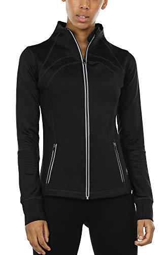 icyzone Sport Jacke Damen Langarm Shirt - Trainingsjacke voll Reißverschluss Laufshirt mit Daumenloch und Seitentasche (Solid Black, M)