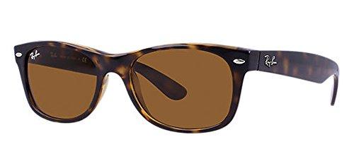 Ray-Ban RB2132 New Wayfarer Sunglasses Unisex 100% Authentic (Tortoise Frame Solid Brown Lens, 52) …