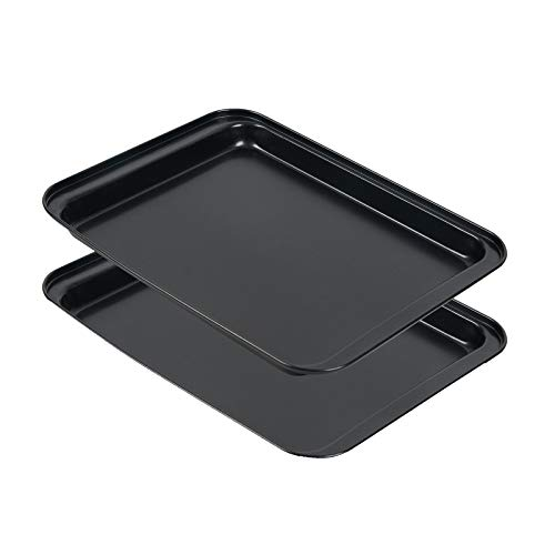 Small Baking Sheet 2 Pack, Shinsin 8 Inch Nonstick Baking Pans for Oven w/Rimmed Border, Professional Reusable Baking Trays for Toaster Oven Replacement