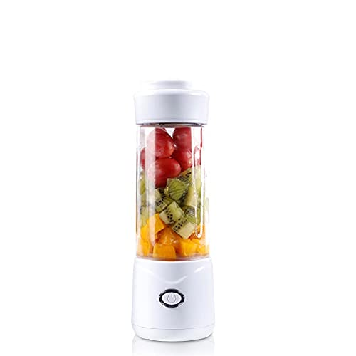 DSFHKUYB 350ml Mini Electric Portable Blender Juicer Cup USB Rechargeable Food Processor Fruit Juice Maker Mixer Cup Smoothie Maker Protein Shaker Bottle Hand Blender Handhold Blender,White