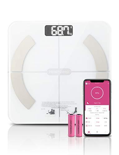 Körperfettwaage Personenwaage Digital Smart home Waage für Körperanalyse Körperanalysewaage Mit 13 Funktionen, Maximal 180 kg, für iOS und Android App, Weiß