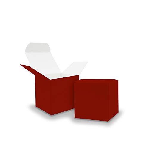 Itenga 50x scatole regalo in cartone da riempire (calendario dell'avvento, bomboniera per matrimonio, battesimo, nascita), rosso scuro, Würfel 5x5cm