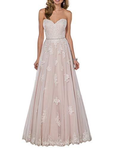 HUINI Damen Brautkleid Spitzen Lang Vintage Hochzeitskleid Boho Standesamtlich Strand Brautmode Ballkleid Rückenfrei Rosa 50