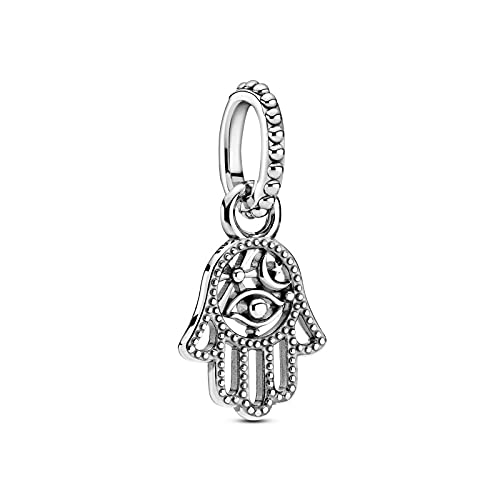 WUXEGHK Lucky Charm 925 Sterling Silver Protective Hamsa Hand Dangle Charm Beads Fit Pandora Pulsera 925 Joyería De Plata