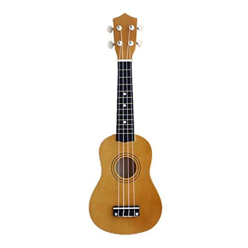 Gaoominy - Ukelele soprano (21 pulgadas, 4 cuerdas, para guitarra, ukelele hawaiano, cuerdas y púas, para regalo de niño), color marrón