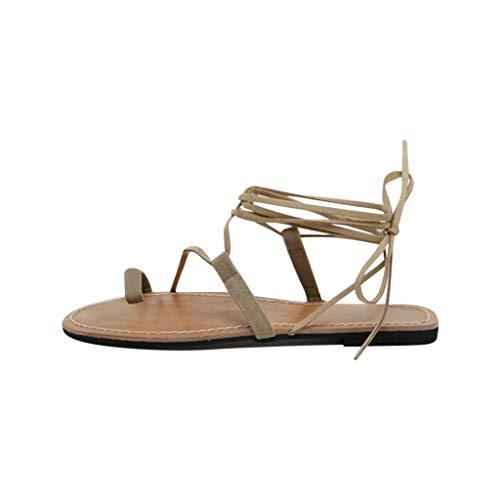 Supertong Damen Sandalen Elegant Bikini Cross Riemchen Sandaletten Strandschuhe Sommer Bequeme Flacher Boden Slingback Sandals Mode Open Toe Riemchensandalen Hausschuhe