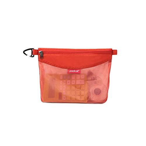 pack all Water-Resistant Material Zipper Pouch, Mesh Zipper Bags for Storage, Travel, Office (Orange, Medium)