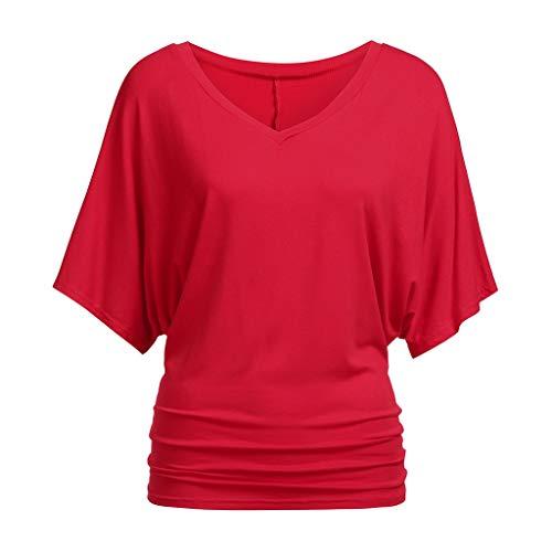 BUKINIE Chemisier Chic pour Femmes Grande Taille, Chemise à Manches Courtes Oversize, col Bateau, Chemise Haut Dolman(Rouge,Large)