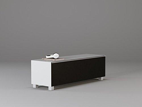 moebel-dich-auf TV-Board Soundboard Maja 7736 VITO Soundconcept Akustikstoff schwarz in 140x43x42cm oder 180x43x42cm (140, Weißglas)