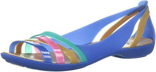 crocs Isabella Huarache 2 Damen Freizeitschuhe 34-35 Blaues Jean/Gold