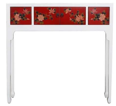 Fine Asianliving Chinesische Konsolentisch Orientalische Möbel Beistelltisch Wandtisch Dekotisch Konsole Telefontisch Tischchen Sofatisch aus Holz Kaffeetisch Couchtisch Sidetable 95 x 90 x 25cm