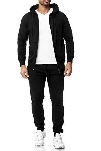 Subliminal Mode SB501 - Conjunto de chándal con capucha y cremallera básica y pantalones cortos para hombre, color negro