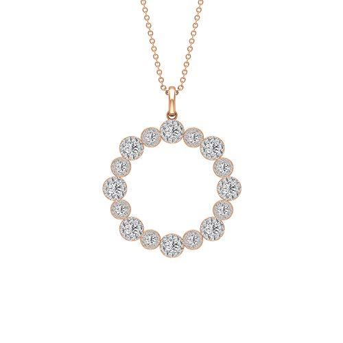 Rosec Jewels Mujer 14 quilates oro rosa Round Brilliant Moissanite