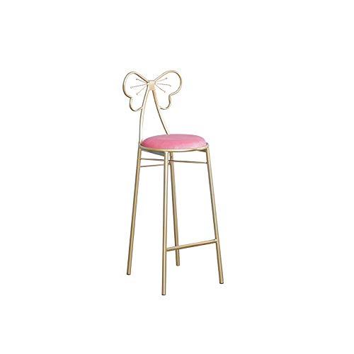 Adorable Tabouret de Bar de Style Princesse avec Une Hauteur de 65 cm (25 po), Coussin en Velours à Structure métallique, doré, pour Restaurants, Bars, cafés, guichet d'accueil