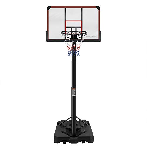 SONGMICS Portable Basketball Hoop, Adjustable Height 7.5 ft to 10 ft,...