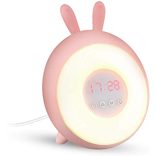 ZHANG wekker, LED wake-up lichtwekker I zonsopgangsimulatie I FM-radiowekker digitaal met 7 I sluimerfunctie