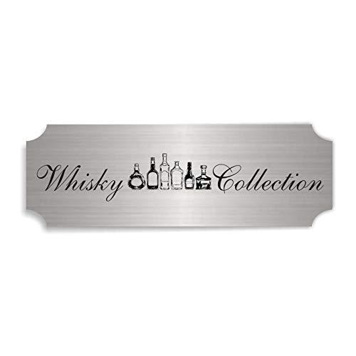 Zilverkleurig bord whisky Collection – ca. 15 x 5 cm - zelfklevend weerbestendig