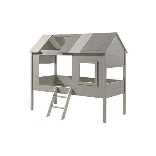 Jugendmöbel24.de Hausbett Jelany 90 * 200 cm inkl. Dachüberbau in Baumhausoptik aus hochwertigem MDF Holz Einzelbett Bett Kinderbett Baumhausbett