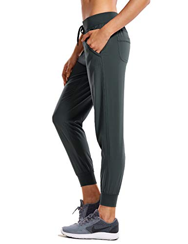 CRZ YOGA Women's Lightweight Joggers Pants with Pockets Drawstring Workout Running Pants with Elastic Waist Melanite X-Small