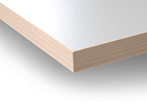 Modulor Holz Tischplatte in 2,5 x 90 x 200 cm mit Kern aus Spanplatte, Platte für Arbeitstisch, mit Buche-Umleimer und Laminatbeschichtung, weiß geperlt