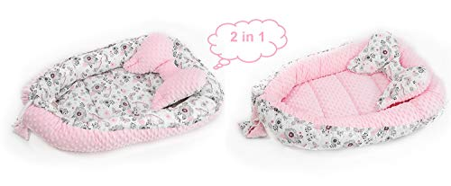 2 piezas. Set Baby Kuschelnest con cojín (forma de mariposa), 64 x 90 cm / 45 x 25 cm, Babynestchen, Reisebett de 100% algodón (pájaro rosa/minky rosa)