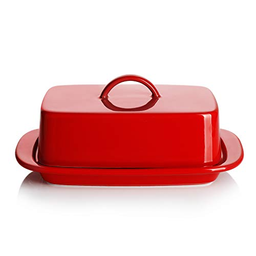 Sweese 312104 Large Butter Dish with Handle Cover Design  Perfect for 2 Sticks of Butter and 8oz Butter  Porcelain Red